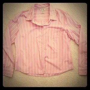 3 for $30 Pink and white stripe button down shirt